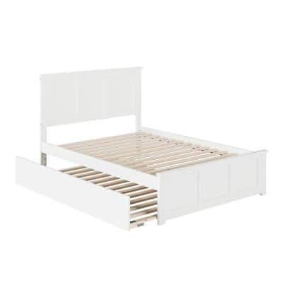 Madison Full Platform Bed with Matching Foot Board with Full Size Urban Trundle Bed in White