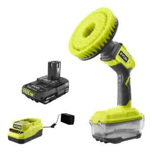 ONE+ 18V Cordless Compact Power Scrubber Kit with 2.0 Ah Battery and Charger