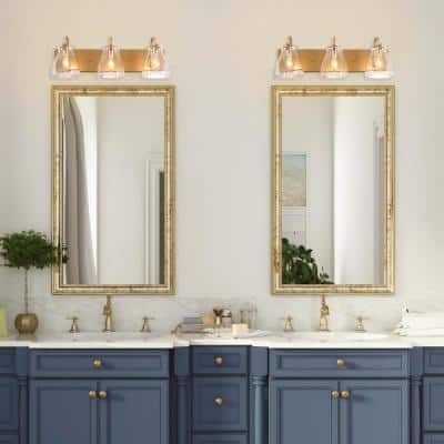 3-Light Gold Vanity Light with Clear Glass Shades Modern Interior Bath Powder Room Bar Mount Wall Sconce
