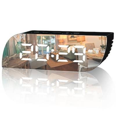 Aesthetic Black Digital Alarm Clock Mirror Surface Dimmer Night Mode Large LED Digits Display