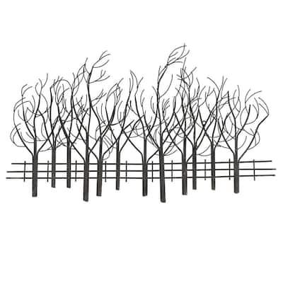 Metal Field of Trees Wall Art