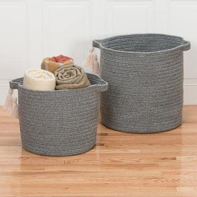 Andorra 20 in. x 20 in. x 20 in. Gray Round Blended Wool Basket
