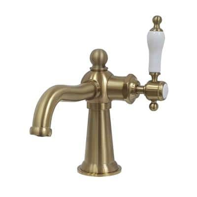 Nautical Single-Handle Single Hole Bathroom Faucet in Brushed Brass