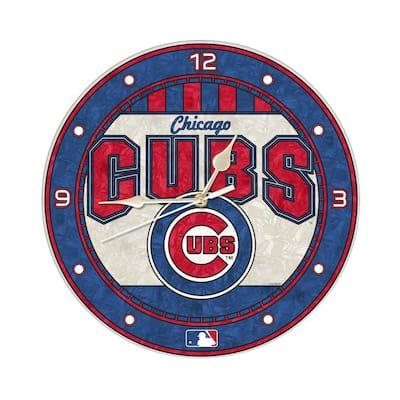 MLB 12 in. Cubs Art Glass Clock