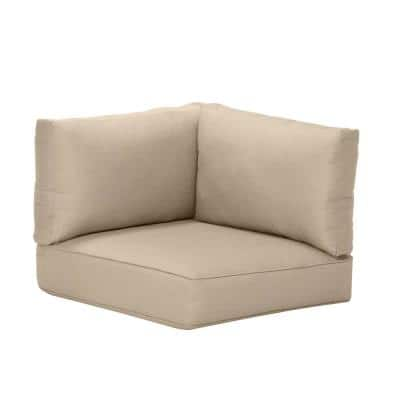 Commercial Grade Left Arm, Right Arm, or Corner Outdoor Patio Sectional Chair Cushion in Sunbrella Canvas Antique Beige