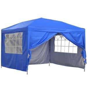 10 ft. x 10 ft. Outdoor Straight Leg Blue Party Wedding Tent Canopy With Adjustable Height