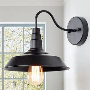 Multi-functional 1-Light Black Gooseneck Indoor Wall Sconce LED Compatible