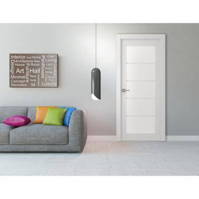 36 in. x 80 in. Smart Pro Polar White Right-Hand Solid Core Wood 5-Lite Frosted Glass Single Prehung Interior Door