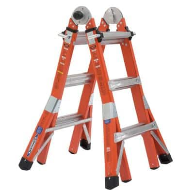 14 ft. Reach Height Multi-Purpose Fiberglass PRO Ladder with 300 lbs. Load Capacity Type IA