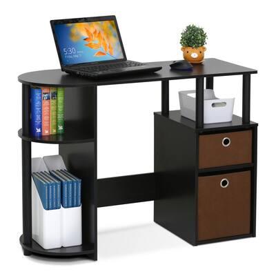 39 in. Rectangular Espresso 2 Drawer Computer Desk with Built-In Storage