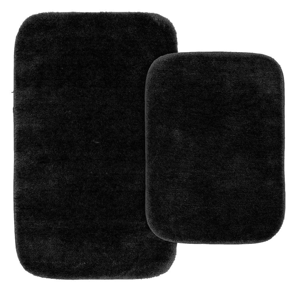 Garland Rug Traditional Black 2 Piece Washable Bathroom Rug Set Ba010w2p04j9 The Home Depot