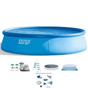 Easy Set Pool 18 ft. Round 48 in. D Inflatable with Ladder, Pump and Maintenance Kit