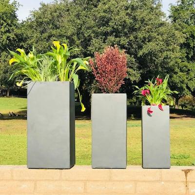 Lightweight Concrete Tall Light Granite Planter (Set of 3)
