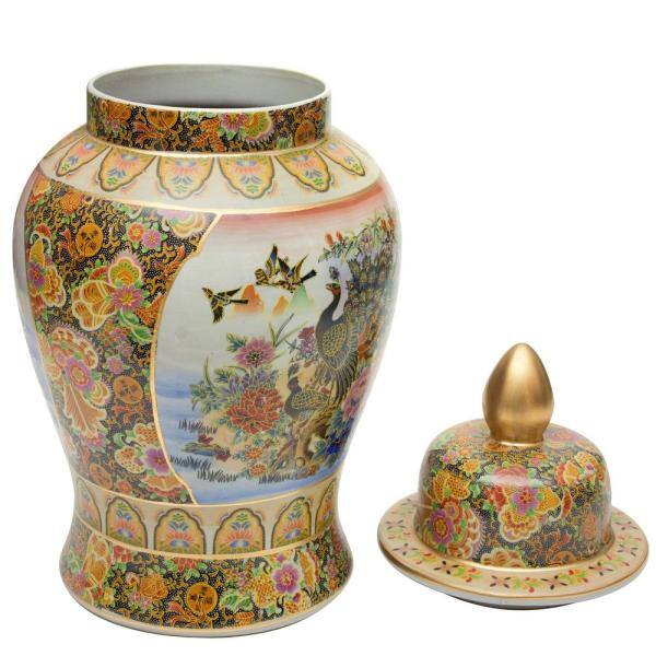 Oriental Furniture 24 In Rose Medallion Satsuma Peacock Porcelain Temple Jar Bw Tjar24 Rm2 The Home Depot