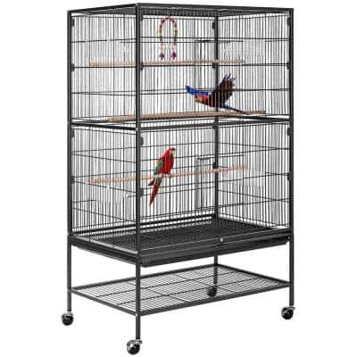 53 in. Wrought Iron Large Bird Cage with Rolling Stand
