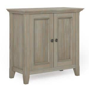 Amherst Solid Wood 32 in. Wide Transitional Low Storage Cabinet in Distressed Grey