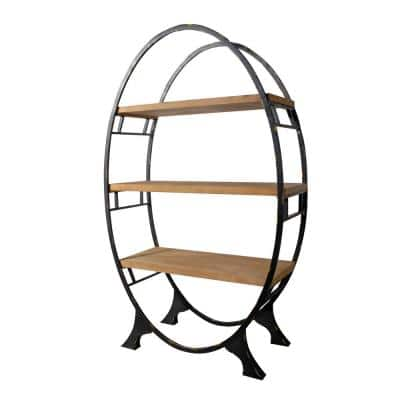 72 in. Natural/Bronze Metal 3-shelf Accent Bookcase with Open Back