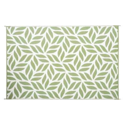 Abstract Leaf Reversible Mat Green/White 6' x 9' Virgin Polypropylene Mat with UV Protection