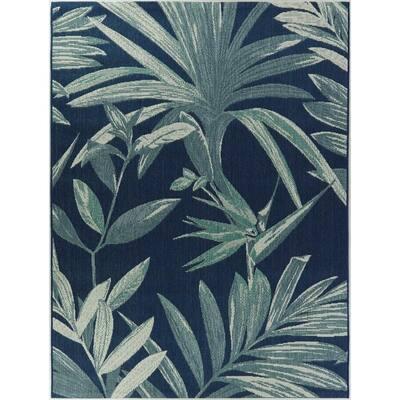 Palm Dark Blue 9 ft. x 12 ft. Indoor/Outdoor Area Rug