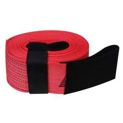 4 in. x 30 ft. x 20,000 lbs. Tow and Lifting Strap with Hook and Loop Storage Fastener in Red