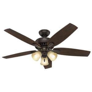 Newsome 52 in. Indoor Premier Bronze Ceiling Fan with Three Light Kit