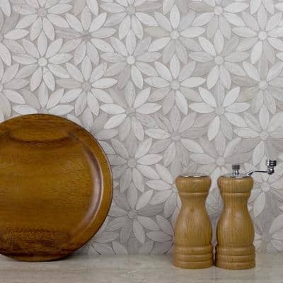 Tuscany Royal Beige Flower 12 in. x 12 in. Marble Decorative Mosaic Wall Tile (10 sq. ft./Case)