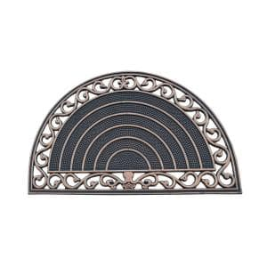 A1HC First Impression Half Round Grill Border 18 in. x 30 in. 100% Rubber Multi Utility Door Mat with Bronze Finish