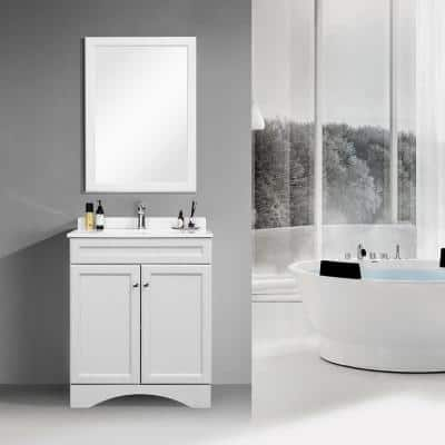 30 in. W x 22 in. D Bath Vanity Cabinet Only with Marble Countertop in Grey