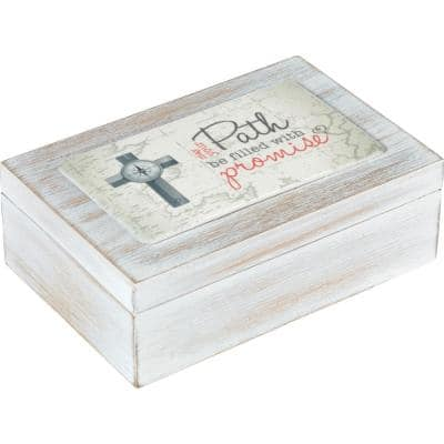 Distressed White May Your Path Be Filled With Promise Wood And Resin Confirmation Music Box