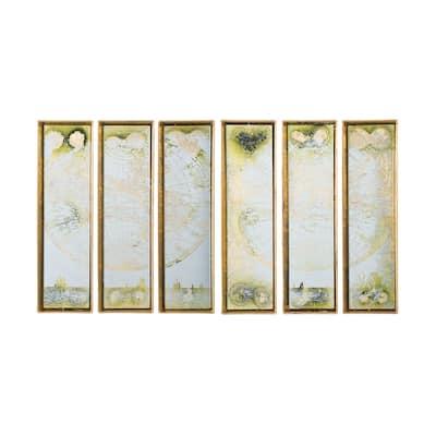 Antique Gold World Map Frame Wall Art (Set of 6)