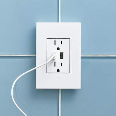 Adorne 15 Amp 125-Volt Dual USB Plus-Size Duplex Outlet, White