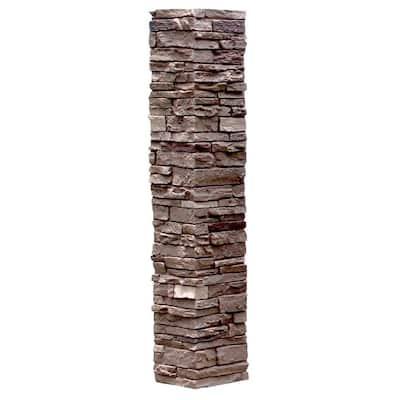 Slatestone 8 in. x 8 in. x 41 in. Brunswick Brown Faux Polyurethane Stone Post Cover