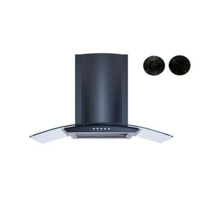 30 in. Convertible Wall Mount Range Hood in Black with Mesh Filters, Charcoal Filters and Push Button Control