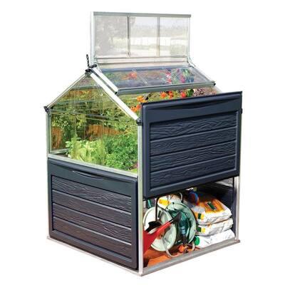 Plant Inn 4 ft. x 4 ft. Gray/Clear Raised Bed DIY Greenhouse Kit
