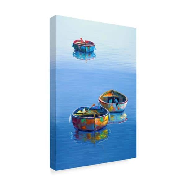 Trademark Fine Art 16 In X 24 In Boats Blue Vertical By Edward Park Floater Frame Nature Wall Art Ali29553 C1624g The Home Depot