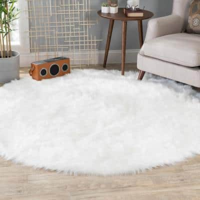 White 6 ft. x 6 ft. Luxuriously Soft and Eco Friendly Round Faux Fur Area Rug