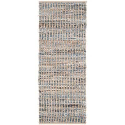 Cape Cod Natural/Blue 2 ft. x 6 ft. Striped Distressed Runner Rug