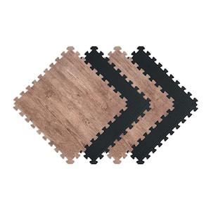Reversible Rustic Brown/Black Faux Wood 24 in. x 24 in. x 0.47 in. Foam Mats (4-Pack)