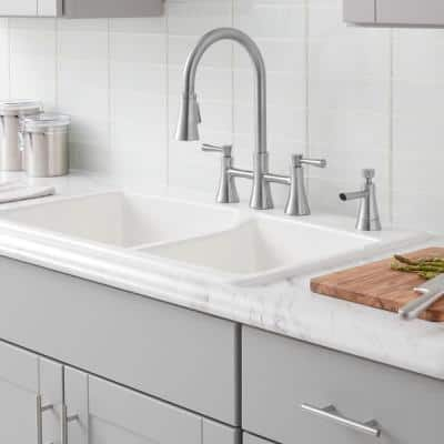 Selma 2-Handle Pull-Down Sprayer Bridge Kitchen Faucet with Soap Dispenser in Stainless Steel