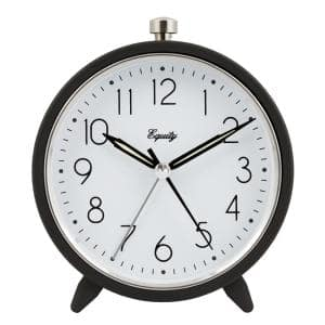 5 in. Round Quartz Metal Alarm Clock in Dark Gray