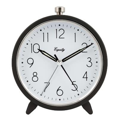 5 in. Round Silent Sweeping Quartz Metal Alarm Clock in Dark Gray