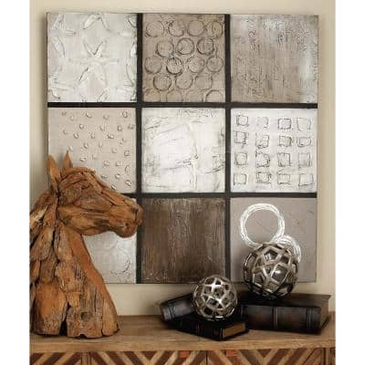 """40 in. x 40 in. """"Brown Geometric Blocks"""" Hand Painted Canvas Wall Art"""