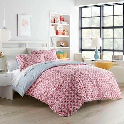 Flamingo 3-Piece Pink Animal Print Cotton Full/Queen Duvet Cover Set