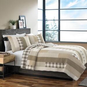 Fairview 3-Piece Beige Plaid Cotton King Quilt Set