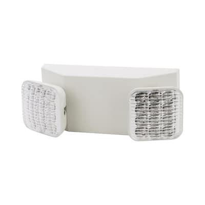 120/277-Volt (2) 5.4-Watt Lamps LED Twin Head Emergency Light, White