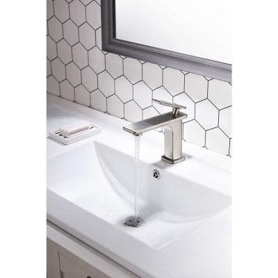 6.31 in. Single Hole Single-Handle Lever Vessel Bathroom Faucet in Brushed Nickel