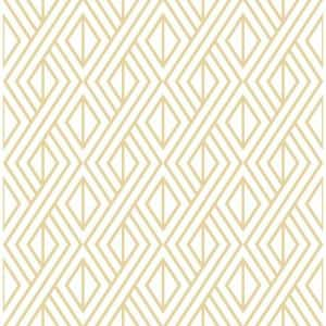 Diamond Metallic Gold And White Geometric Vinyl Peel & Stick Wallpaper Roll (Covers 30.75 Sq. Ft.)