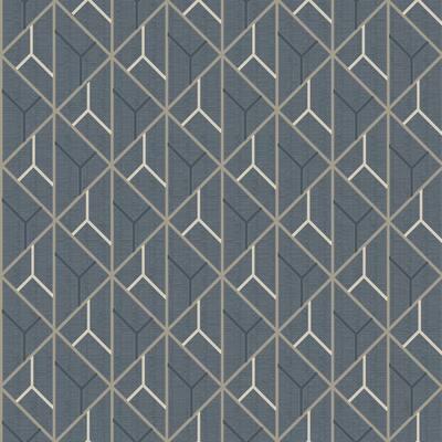 Wilder Blue Geometric Trellis Wallpaper Sample