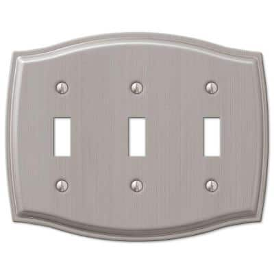 Vineyard 3 Gang Toggle Steel Wall Plate - Brushed Nickel