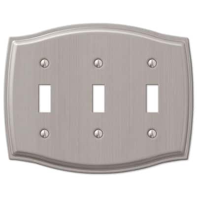 Vineyard 3 Gang Toggle Steel Wall Plate - Brushed Nickel
